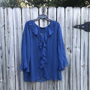 Blue sheer blouse by Separates